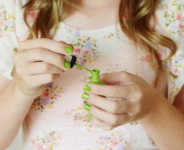 Brittany doing nails crop
